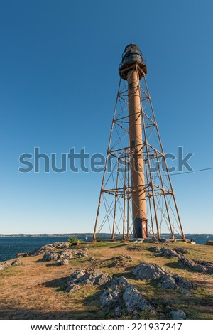 The Marblehead Light is located inside Chandler Hovey Park at the northern end of Marblehead Neck in Massachusetts, USA - stock photo