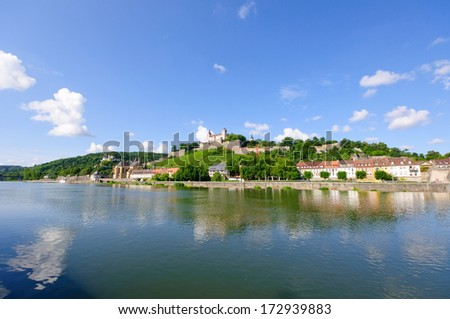 The Marienberg fortress and the Main river in Wurzburg, Germany - stock photo