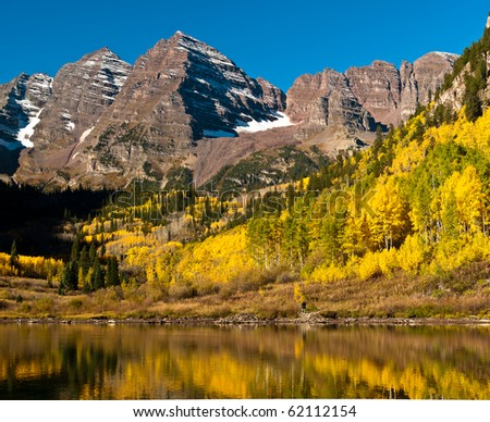 The Maroon Bells With Maroon Lake - stock photo
