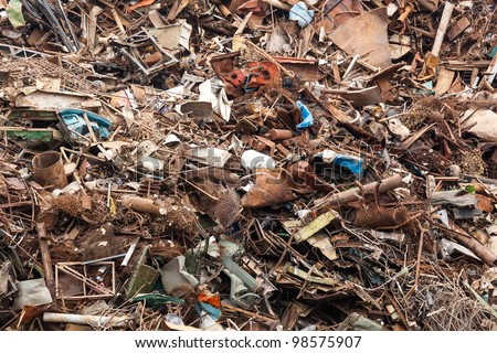 The massive pile of scrap metal - stock photo