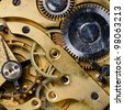 The mechanism of an old watch close-up - stock photo