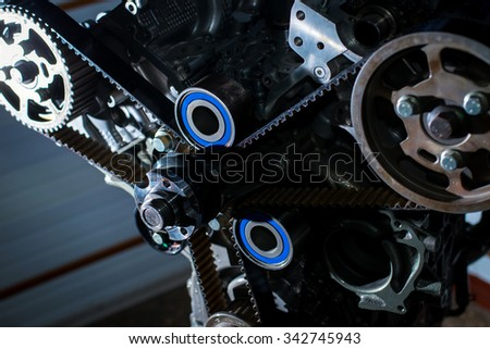 The mechanism of the valve timing control internal combustion engine. Check the timing belt - stock photo