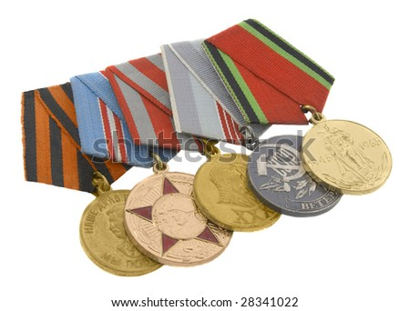 The medals of soviet heroes isolated over white background - stock photo
