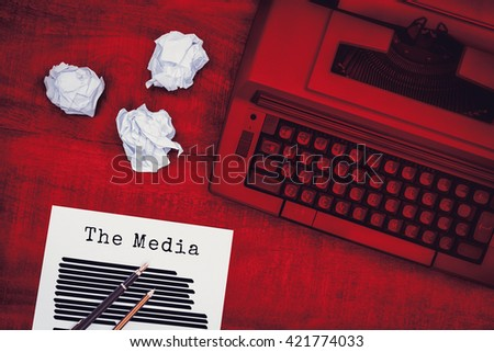 The media message against view of an old typewriter - stock photo