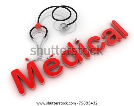 The medical stethoscope on a white background - stock photo