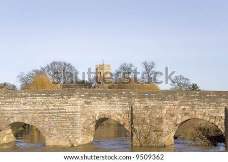 The medieval bridge over the river avon bidford on avon warwickshire the midlands england uk - stock photo