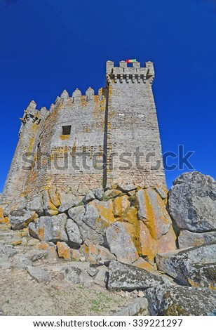 The medieval castle at Penedono with prism turrets and pyramid crenellations. At Penedono, northern Portugal - stock photo