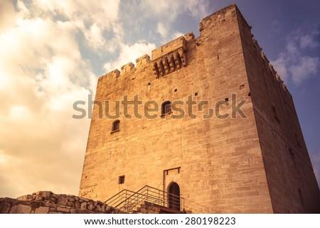 The medieval castle of Kolossi. Kolossi village, Limassol District. Cyprus - stock photo