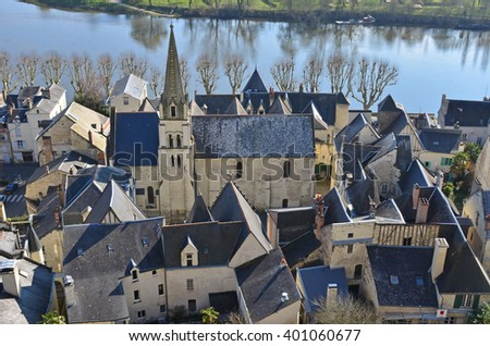 The medieval fortress town of Chinon on the banks of the river Vienne in France - stock photo