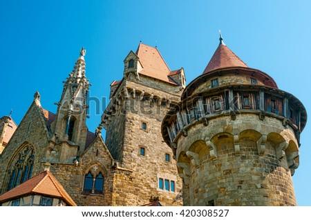 The medieval Kreuzenstein castle in Leobendorf village near Vienna, Austria - stock photo