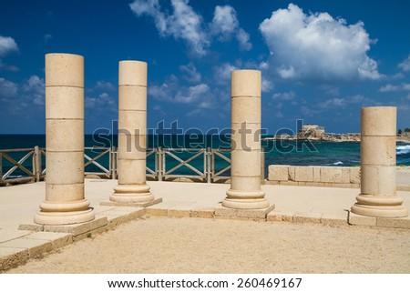 the mediterranean historic city of Cesarea in north Israel - stock photo