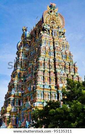 The Meenakshi Temple, Madurai (India) - stock photo