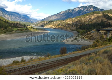 The meeting of the Thompson (right) and Fraser (left) Rivers, Lytton, British Columbia, Canada - stock photo