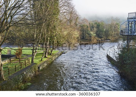 The Meeting of the Waters, County Wicklow, Ireland, marks the spot where River Avonmore and Avonbeg join. - stock photo