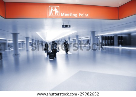 the meeting point of the pudong airport in shanghai china. - stock photo