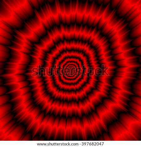 The Menacing Explosion / An abstract fractal image with an explosive design in red and black. - stock photo