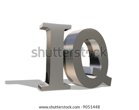 The metal letters I and Q rejecting a shadow, on a white background - stock photo