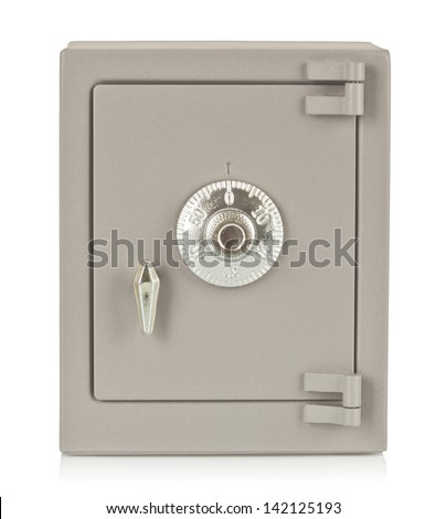 The metal safe on a white background - stock photo