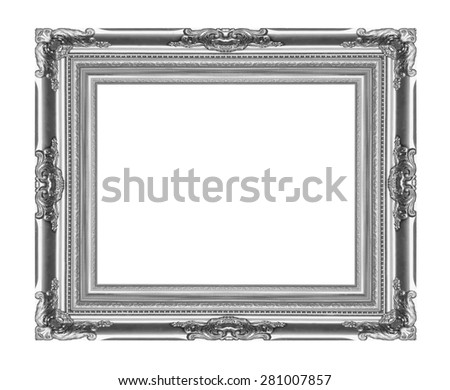 The metal silver frame on the white background - stock photo