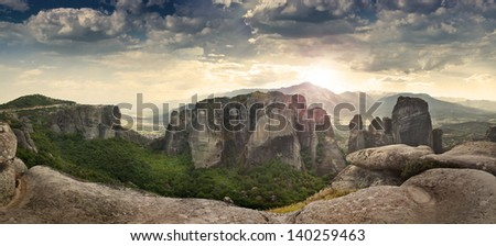 The Meteora rocks in Greece - stock photo