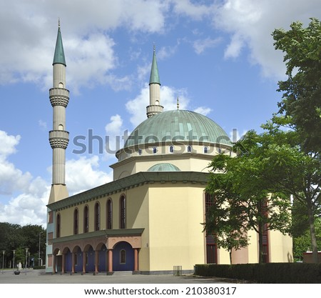 The Mevlana Mosque build in Rotterdam in 2001 Dutch-Turkish community. The Minarets are 42m high. - stock photo