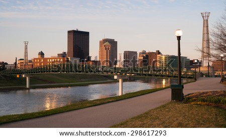 The Miami River travels along passing through Dayton Ohio - stock photo