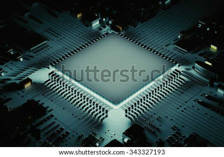The microprocessor circuit board 3d rendering. - stock photo
