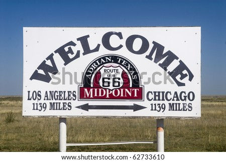The midway point along Route 66 in Adrian, Texas - stock photo