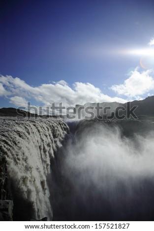 The Mighty Dettifoss waterfall Jokulsargljufur national park Iceland - stock photo