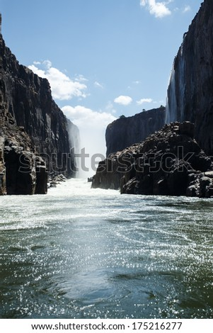 The Mighty Victoria Falls in Livingstone, Zambia, Africa - stock photo