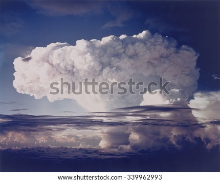 The MIKE shot was the first thermonuclear test, Nov. 1, 1952. The hydrogen bomb was part of Operation Ivy at the Pacific Proving Ground, which exploded the two largest bombs tested up to that time. - stock photo