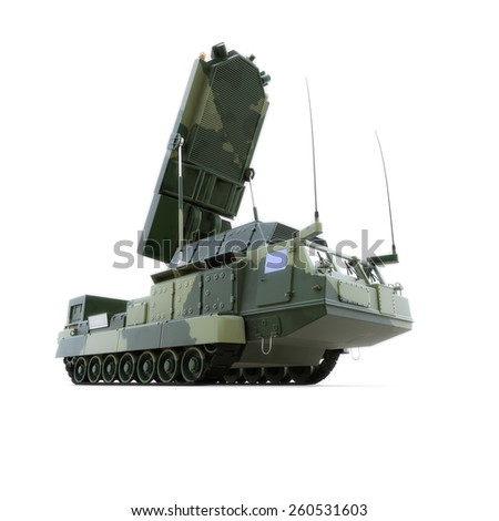 The military vechicle with radar, isolated on white - stock photo