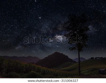 the Milky Way landscape,Nan,Thailand. - stock photo