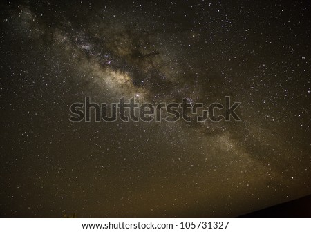 The Milky Way over the Mauna Loa volcano in Hawaii. - stock photo