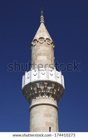 The minaret of mosque in Bodrum Turkey - stock photo