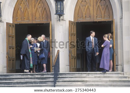 The minister meets the congregation at the Methodist Church in Macon Georgia - stock photo