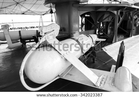 The missile does not use an warships .black and white. - stock photo
