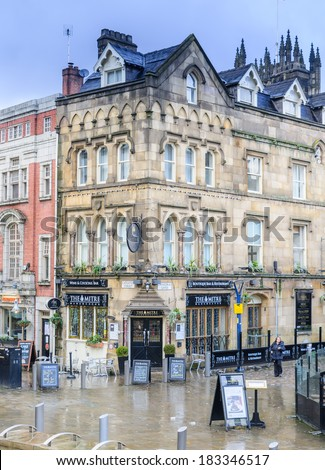 The Mitre, Manchester, UK - January 27: The popularity of the Corn Exchange in Manchester on January 27th 2013 has spurred on a redevelopment process for the area. - stock photo