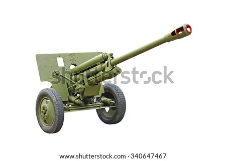 The 76-mm Russian division cannon gun from WWII isolated on white background. - stock photo