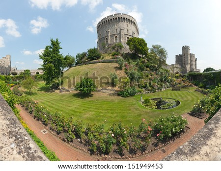 The moat and gardens at Windsor castle. - stock photo