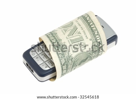 The mobile phone in the dollar banknote  isolated - stock photo