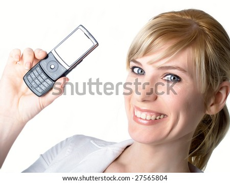 the mobile phones in hands at the girl - stock photo