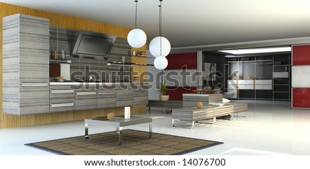 the modern apartment ( 3D) - stock photo