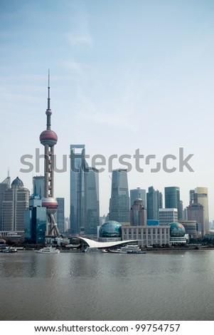 the modern city shanghai pudong,China - stock photo