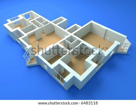 the modern flat sketch 3d rendering - stock photo