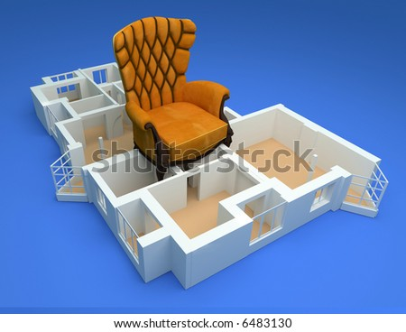 the modern flat with luxory armchair sketch 3d rendering - stock photo