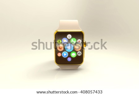 The modern golden smart watch with app icons on screen. 3d rendering - stock photo