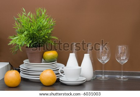 the modern kitchen interior close-up detail  photo - stock photo