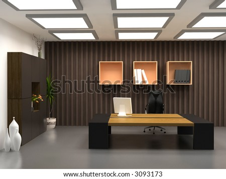 the modern office interior design (3d render) - stock photo