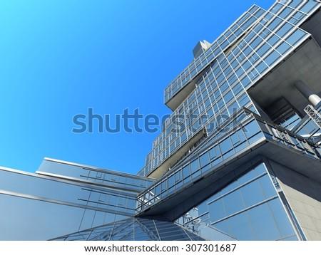 The modern skyscraper on white backgrou - stock photo
